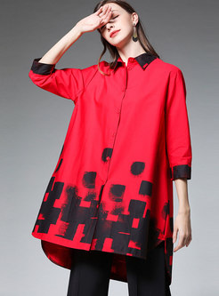 Color-blocked Lapel Asymmetric Loose Blouse