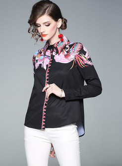 Fashion Lapel Single-breasted Print Blouse