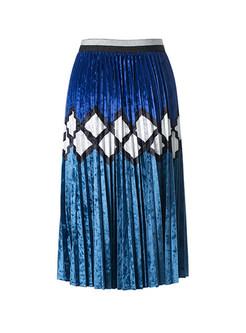 Read Color-blocked Gold Velvet Skirt
