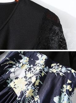 Print Splicing V-neck Gathered Waist Skater Dress