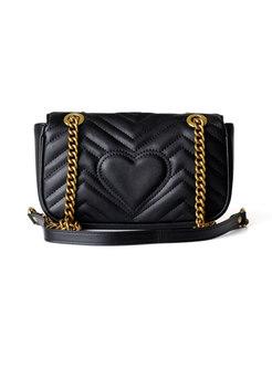 Stylish Clasp Lock Cowhide Leather Chain Crossbody Bag