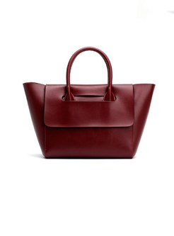 Vintage Solid Color Leather Top Handle Bag