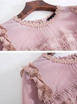 Pink O-neck Half Sleeve Sheath Cake Dress