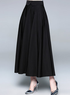 Elegant Black High Waist Hem Skirt