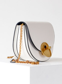 Cowhide Leather Clasp Lock Chain Crossbody Bag
