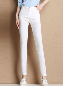 Solid Color High Waist Pencil Pants