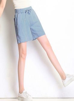 Elastic Waist Wide Leg Denim Short Pants