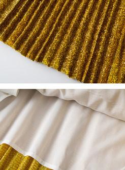 Fashion Elastic Waist Gold Maxi Skirt
