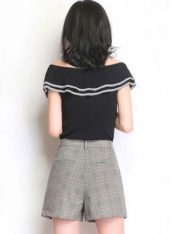 Style Slim Plaid Straight Short Pants