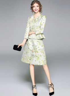Elegant Jacquard O-neck Zipper Coat & A Line Skirt