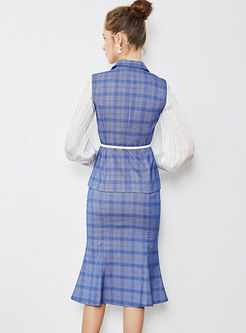 Plaid Notched Sleeveless Top & Sheath Mermaid Skirt