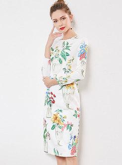 Elegant Print O-neck Sheath Dress