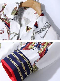 Stylish Turn Down Collar Lantern Sleeve Blouse