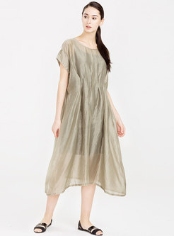 Brief Pure Color O-neck Shift Dress With Cami
