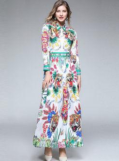 Court Lapel Long Sleeve Print Maxi Dress