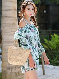 Fashion Halter Print Cover-up Swimwear