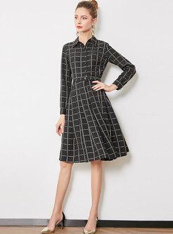 Elegant Plaid Lapel Belted Skater Dress