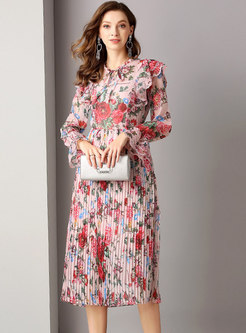 Sweet Floral Flare Sleeve Pleated Dress
