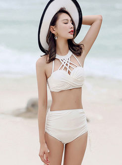 Solid Color Gathered Three Piece Swimwear