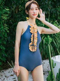 Color-blocked Half One Piece Swimwear