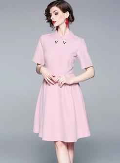 Brief Lapel High Waist Slim Skater Dress