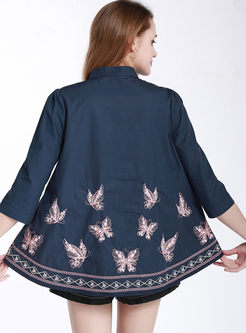 Standing Collar Butterfly Embroidered Blouse