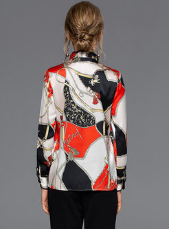 Chic Print Stand Collar Bowknot Single-breasted Blouse