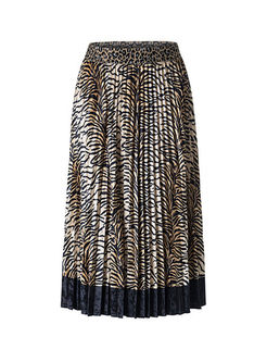 Stylish Gold Velvet Leopard A Line Skirt