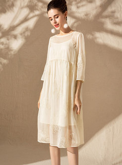 Elegant Embroidered O-neck Shift Dress With Cami