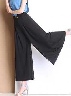 Brief High Waist Wide Leg Pants With Decoration