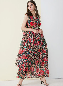 Print V-neck Sleeveless High Waist Beach Maxi Dress