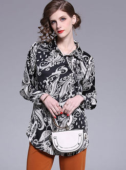 Lapel Single-breasted Print Loose Blouse