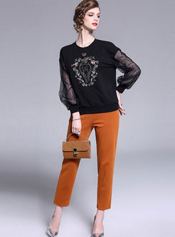 Lace Splicing Sequined T-shirt & Slim Pants