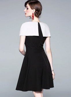 Chic Color-blocked Cape Slim Skater Dress