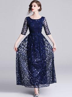Half Sleeve Sequin Mesh Party Maxi Dress