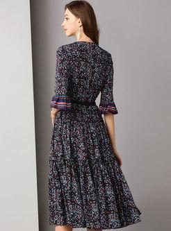 Floral Flare Sleeve Gathered Waist Skater Dress