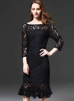 Elegant Lace Hollow Out Sheath Mermaid Dress