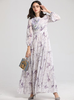 Bohemia Print O-neck High Waist Slim Maxi Dress