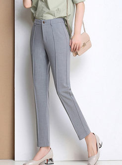 Brief Slim Solid Color Pencil Pants