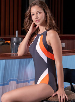 O-neck Sleeveless Color-blocked Swimwear
