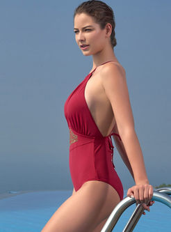 Solid Color Halter Slim One Piece Swimwear