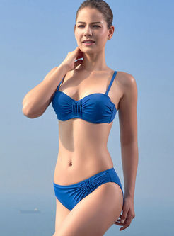 Stylish Pure Color Tied Gathered Bikini