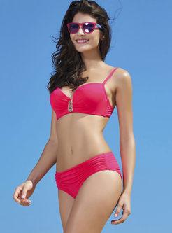 Fashion Solid Color Gathered Bikini