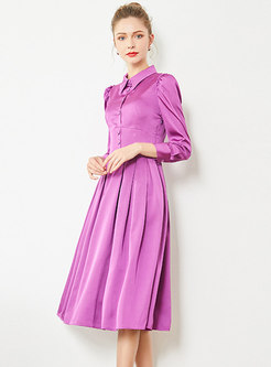 Solid Color Lapel Gathered Waist Slim Skater Dress
