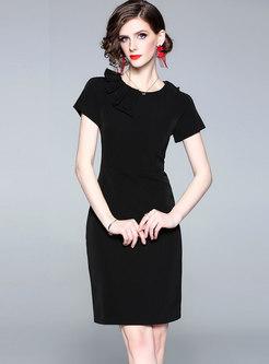 Elegant O-neck Short Sleeve Bodycon Dress