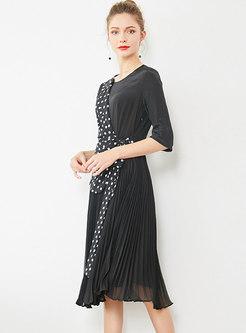 Ploka Dot Splicing Tie-waist Pleated Dress