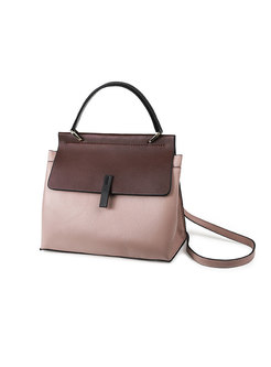 Color-blocked Magnetic Lock Leather Crossbody Bag