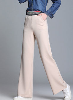 Color-blocked High Waist Wide Leg Pants
