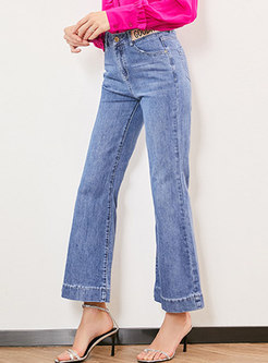 Casual Denim High Waist Wide Leg Pants