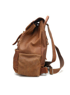 Casual Cowhide Leather Solid Color Backpack